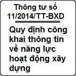 Thông tư số 11/2014/TT-BXD ngày 25/08/2014