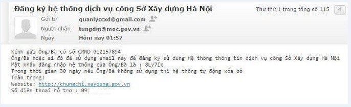 Email thông báo