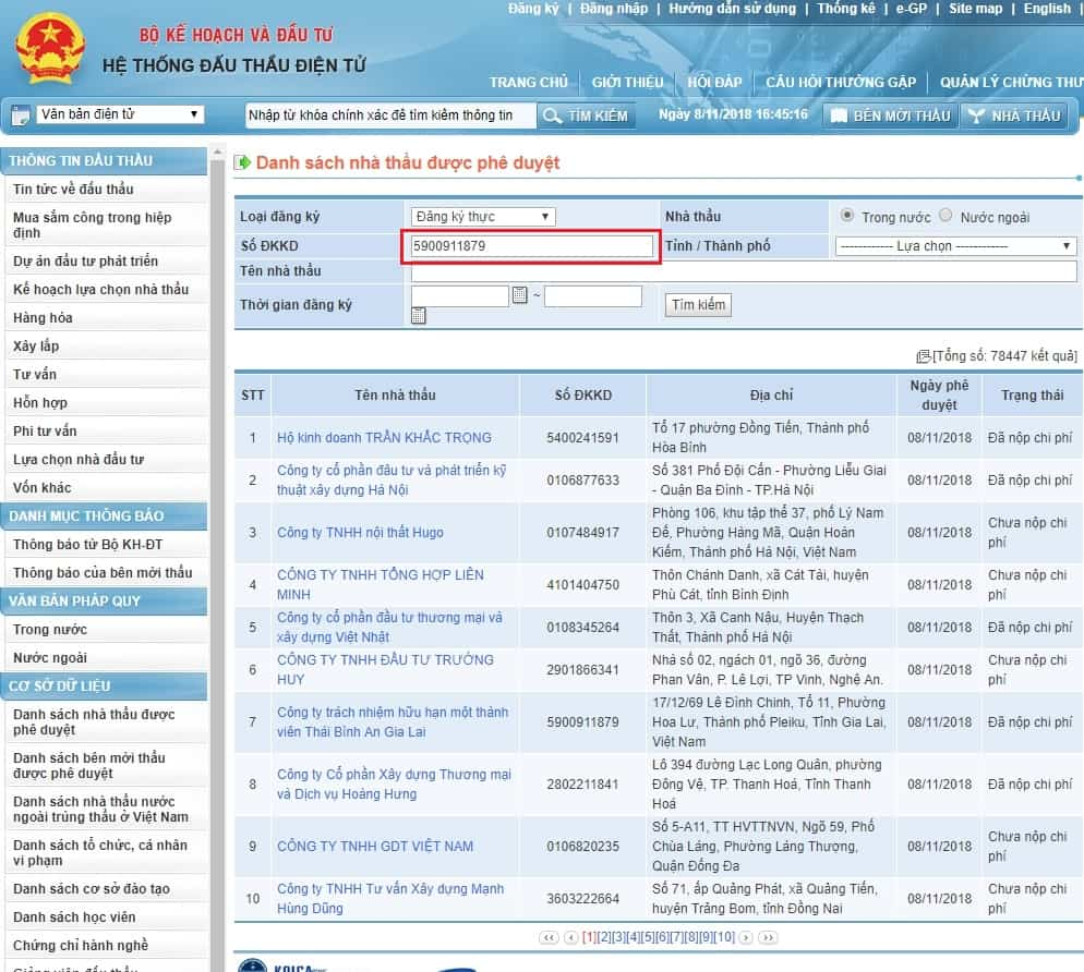 Screenshot 3 - Hướng dẫn tra cứu thông tin nhà thầu trên hệ thống mạng đấu thầu quốc gia