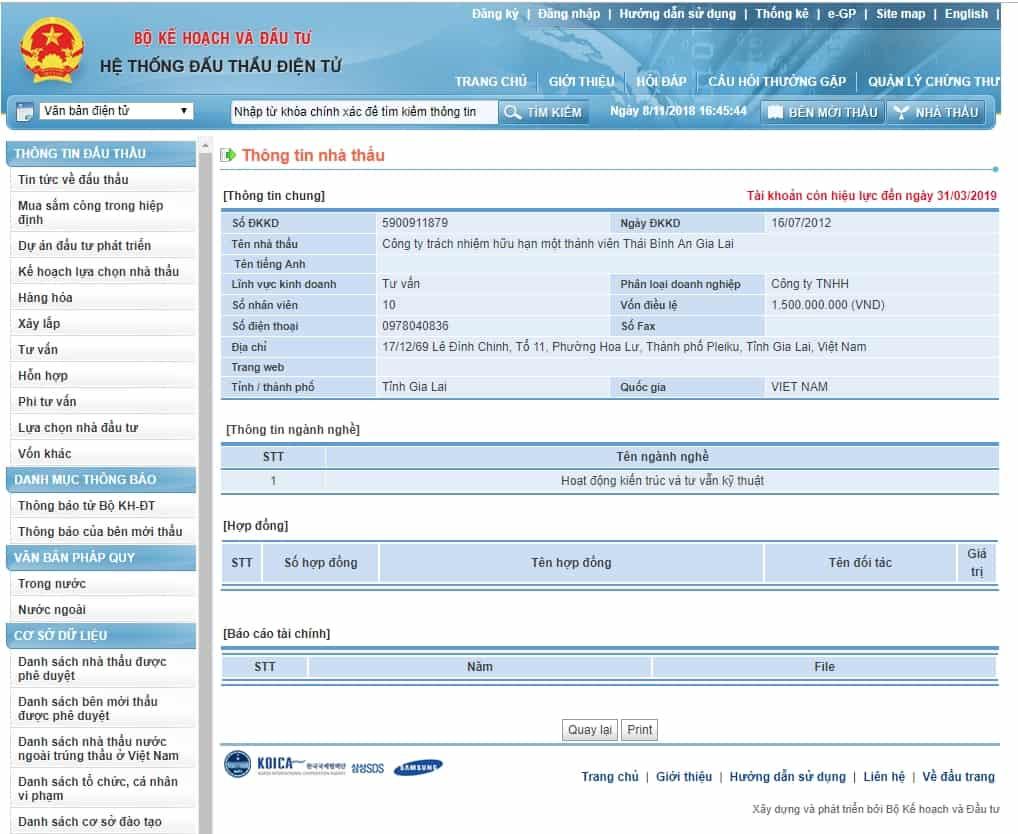Screenshot 5 - Hướng dẫn tra cứu thông tin nhà thầu trên hệ thống mạng đấu thầu quốc gia